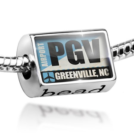 Bead Airportcode PGV Greenville, NC Charm Fits All European Bracelets