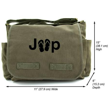 a7fbf52fa5ae Grab A Smile - Jeep with Flip Flops Heavyweight Canvas Messenger Shoulder  Bag - Walmart.com