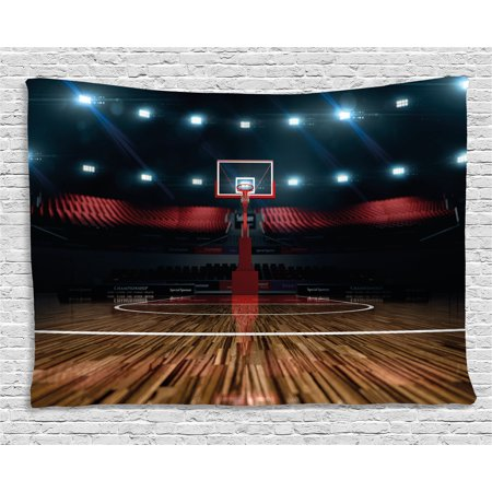 Teen Room Decor Tapestry, Professional Basketball Arena Stadium before Game Championship Sports Image, Wall Hanging for Bedroom Living Room Dorm Decor, 80W X 60L Inches, Multicolor, by Ambesonne for $<!---->