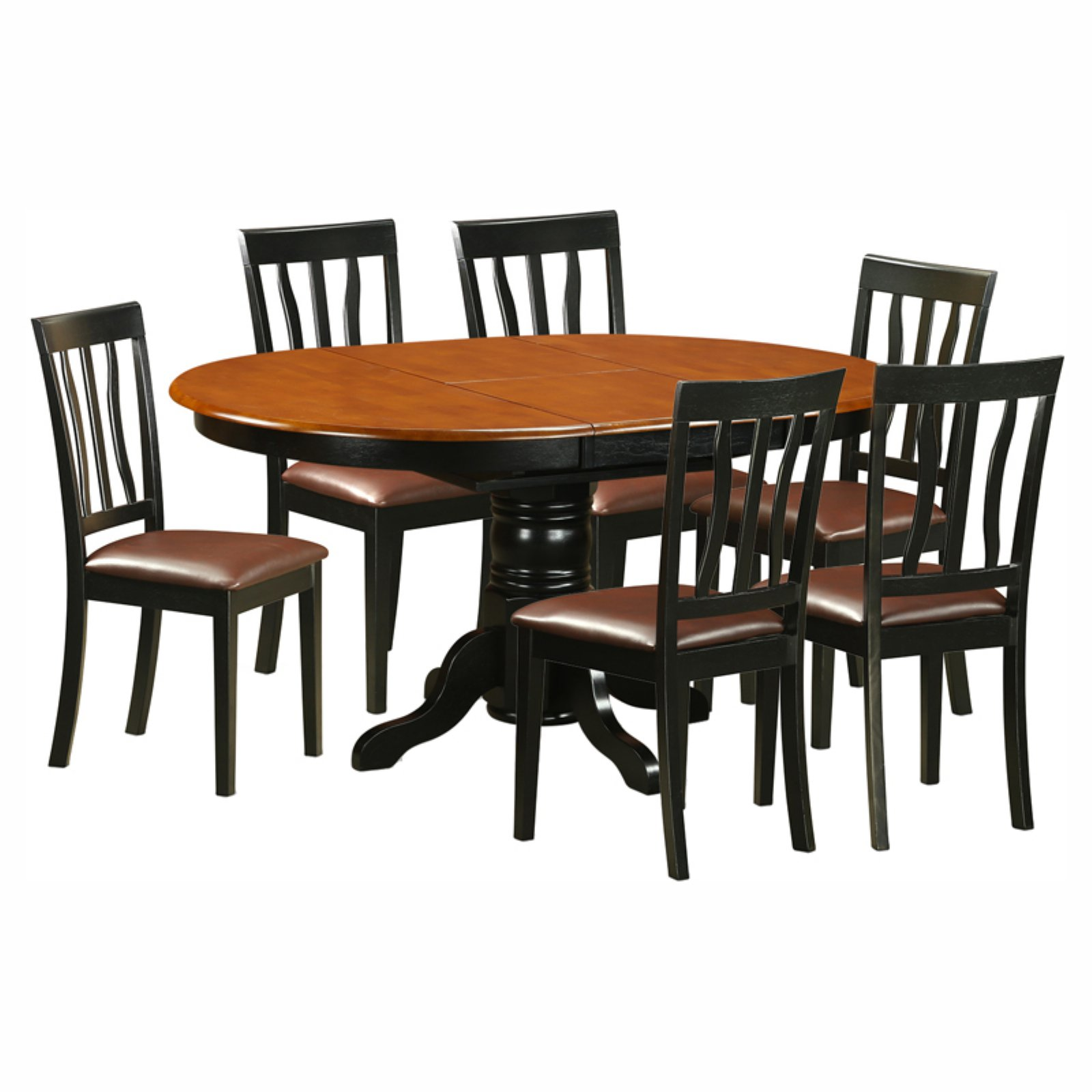 East West Furniture Avon 7 Piece Pedestal Oval Dining Table Set with Antique Microfiber Seat Chairs