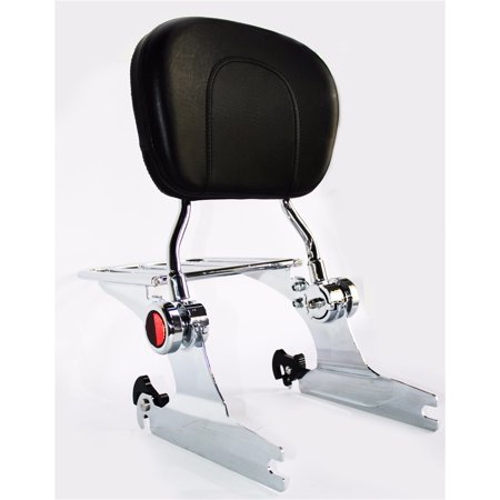 Sissy Bar Luggage Rack - HTTMT- Adjustable Backrest Sissy Bar Luggage rack For Harley Softail 200mm 06 UP Chrome
