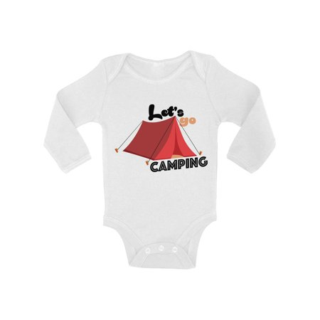 Awkward Styles Let's Go Camping Baby Bodysuit Long Sleeve Baby Shower Gifts Nature Lover Baby Outfit Camp Birthday Party Camping One Piece Top for Baby Boy Camping One Piece Top for Baby