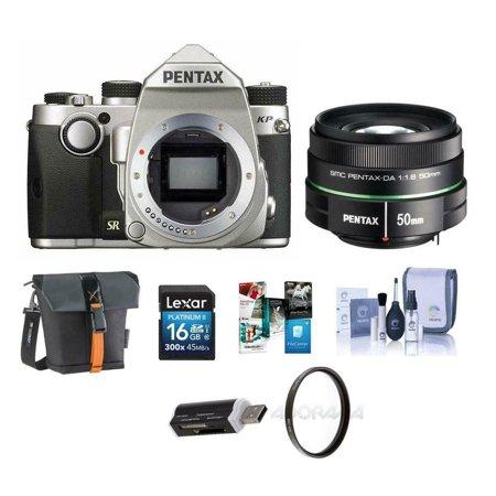 Pentax KP 24MP DSLR Camera Silver With SMCP-DA 50mm f/1.8 Lens W/Free Acc (Apc Bundle)