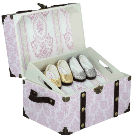 Doll Accessory Steamer Trunk for 18 Inch Doll Clothes Storage - Pretty in Pink High quality doll accessory storage trunk with brown accent cross straps is reminiscent of old steamer trunks! Trunk features a removable top tray to organize doll shoes and accessories. Sturdy wood with attractive PRETTY IN PINK paper design. Matching large size doll storage trunk also available. NOTE: This does not fit the doll. It is for accessory storage. Exclusively made by The Queen's Treasures, offering the highest quality 18 inch Doll Furniture, 18 inch Doll Clothes, 18 inch Doll Shoes & 18 inch Doll Accessories! Safety Tested!
