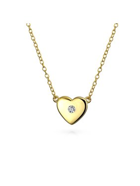 257ab7087ac4 Product Image Small Heart Station Pendant Necklace For Women For Teens  Girlfriend CZ Accent Shinny 14K Gold Plate