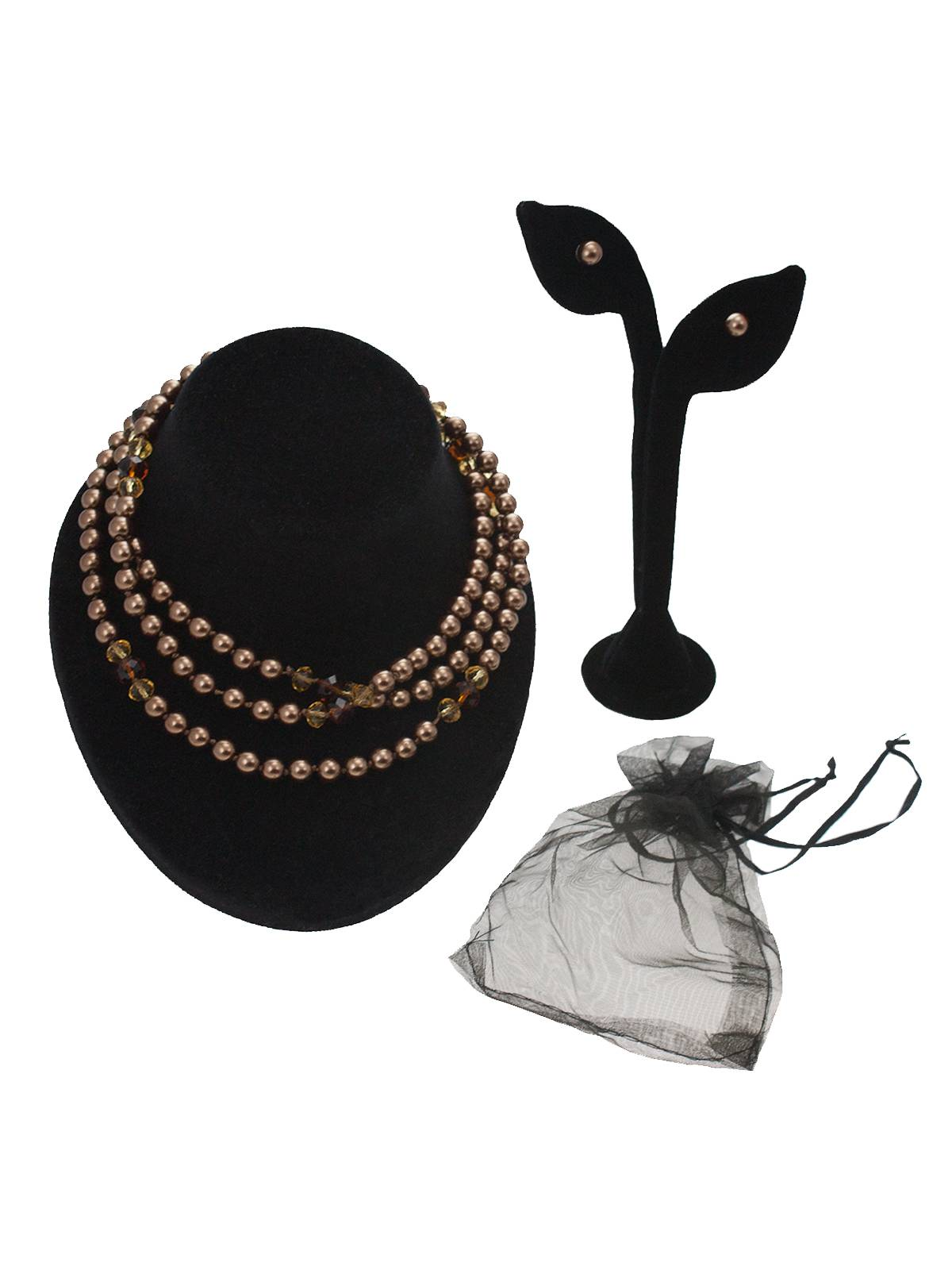 Shell Pearl 48 Long Slip-Over Necklace & Stud Earring Set Demi Parure Flapper