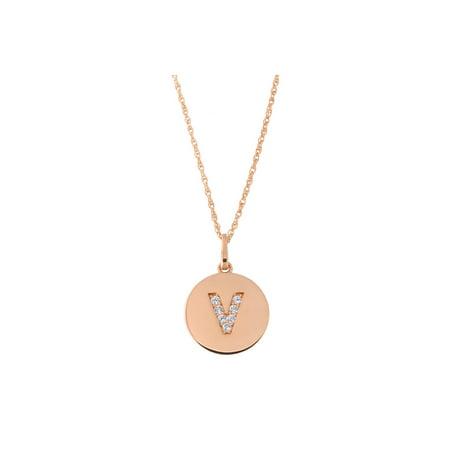 14k Rose Gold Cubic Zirconia Initial Disc Pendant Necklace, V, 16
