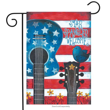 Star Spangled Guitar Garden Flag Patriotic Red White and Blue 12.5
