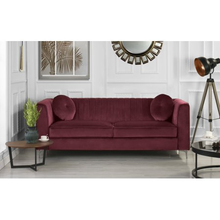 Remarkable Red Traditional Plush Velvet Living Room Sofa With Two Accent Pillows Caraccident5 Cool Chair Designs And Ideas Caraccident5Info
