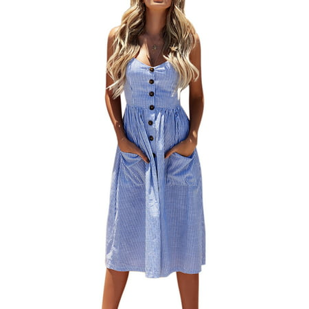 Women Summer Strap Sling Holiday Beach Party Button Through Long Smock Midi Sun Dress - Silk Smocked Dress