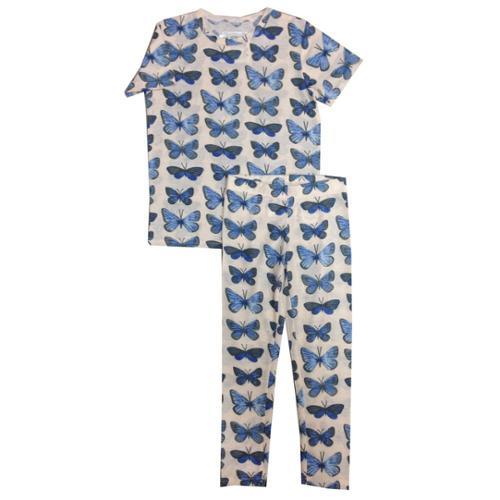 Kings n Queens Girls Multi Color Butterfly Print 2 Pc Pajama Set 6-14