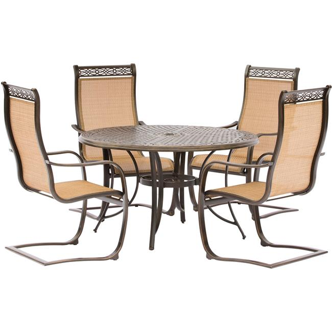 Manor Dining Set with Spring Sling Chairs & Round Cast Table - 5 Piece