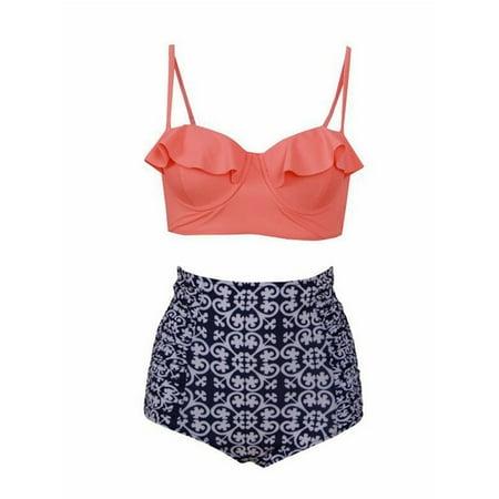 Womens High Waisted Swimwear Sexy Bikini Set PushUp Padded Monokini Swimsuit Top & Bottom (Organge, M, L, XL, 2XL,3XL) - Trendy Monokini