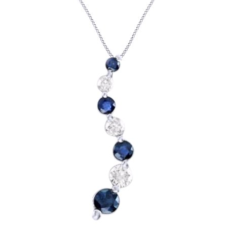 White natural diamond simulated blue sapphire journey pendant white natural diamond simulated blue sapphire journey pendant necklace in 14k white gold aloadofball Image collections