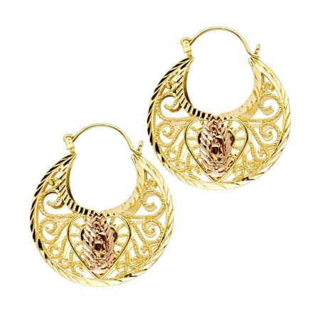 14k Yellow Rose Gold Guadalupe Basket Earrings Virgin Mary Diamond Cut Fancy Two Tone 31 X