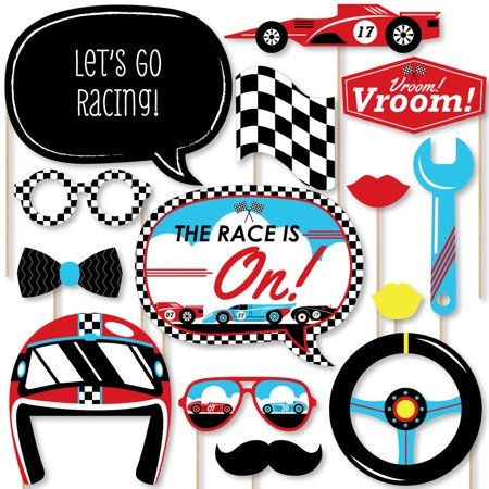 Let's Go Racing - Racecar - Baby Shower or Race Car Birthday Party Photo Booth Props Kit - 20 Count - Go To Party City
