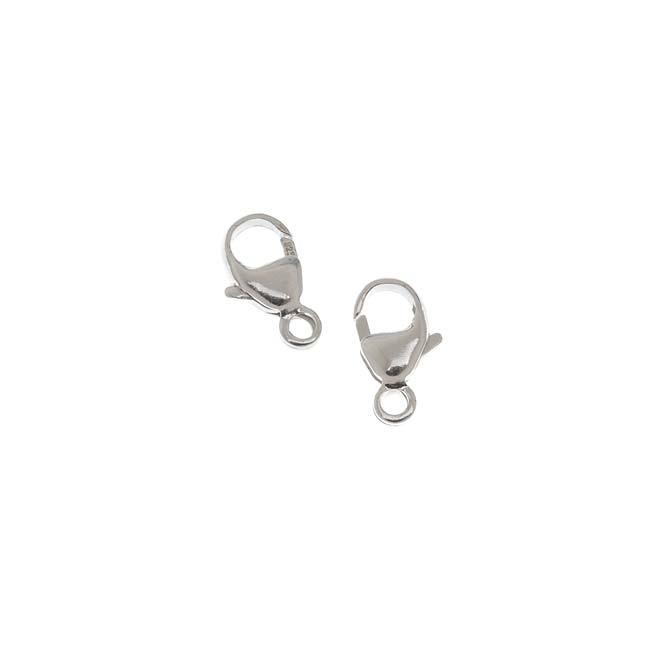 Sterling Silver Elegant Curved Lobster Clasps 9mm (2)