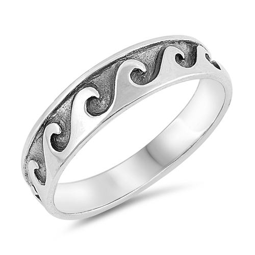 Diamond Cut Wave Ring Genuine Sterling Silver 925 Selectable Face Height 5 mm