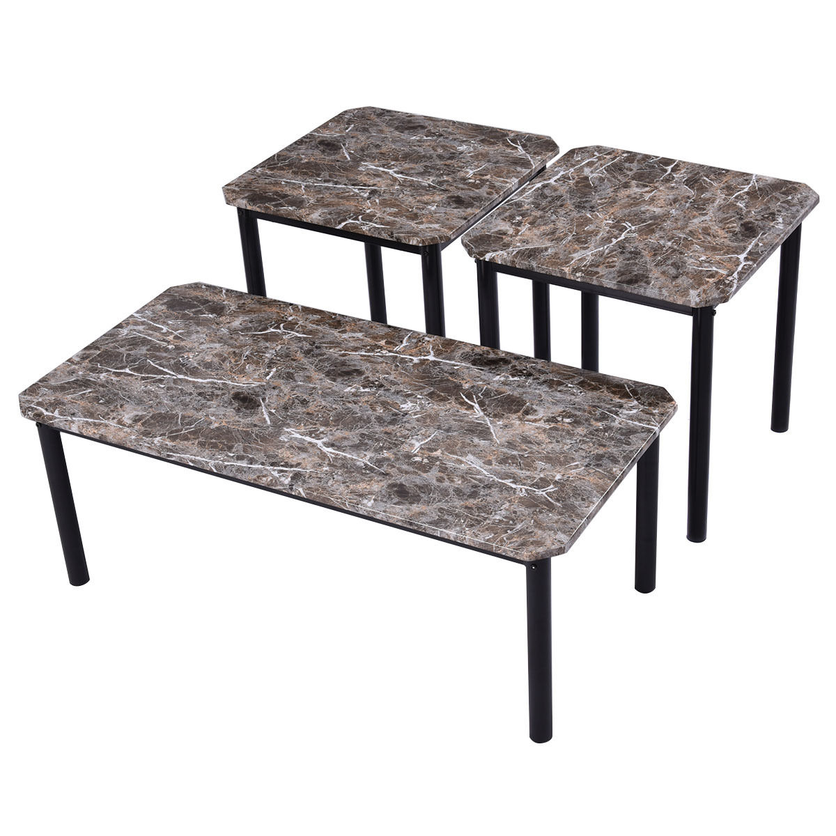 Faux Marble Coffee Table Sets: 3 Piece Modern Faux Marble Coffee And End Table Set Living