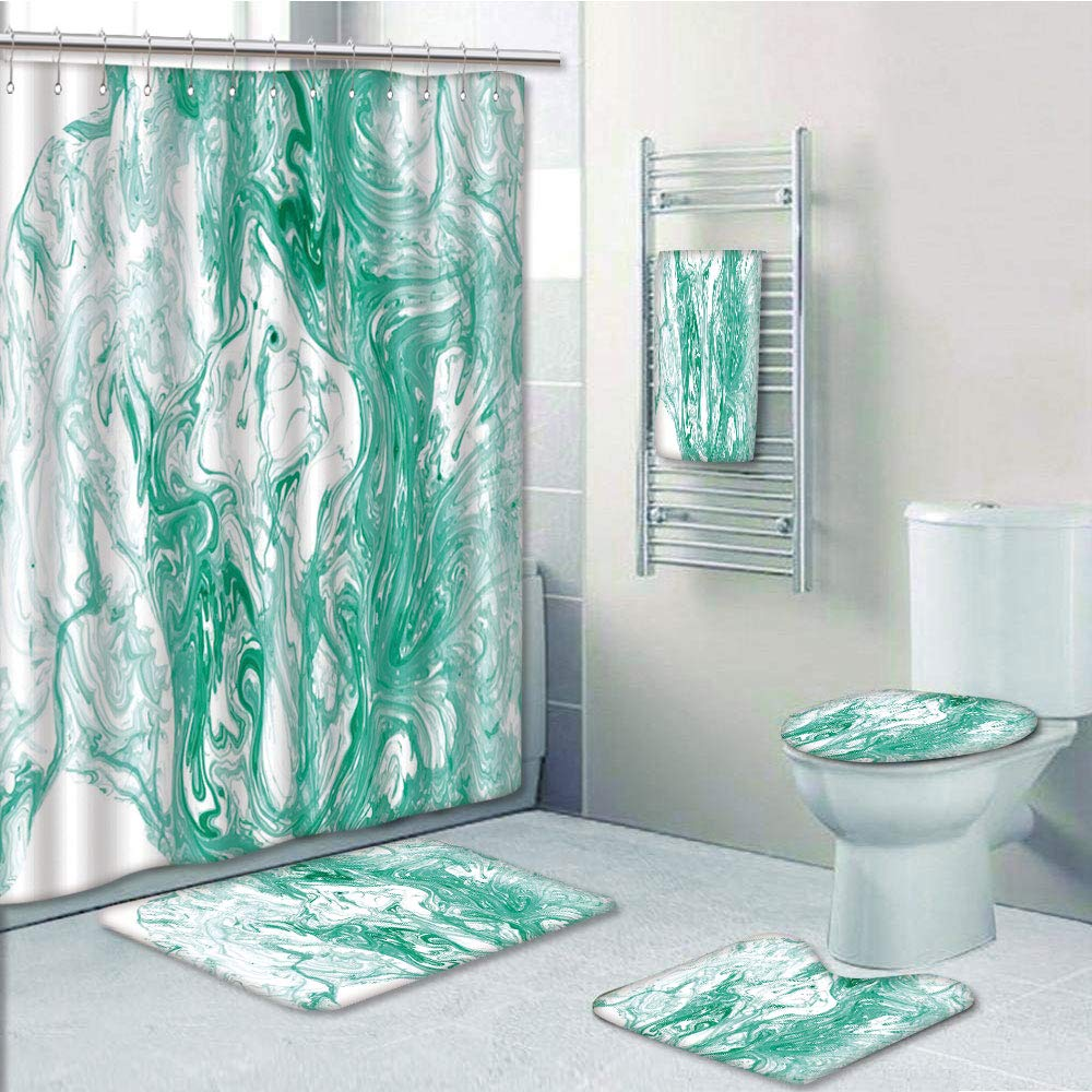 Watercolor Marbling Bathroom Shower Curtain Toilet Seat Cover Rugs Bath Mat Sets