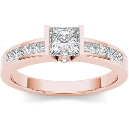 1 Carat T.W. Diamond Princess-Cut Half-Bezel Classic 14kt Rose Gold Engagement Ring