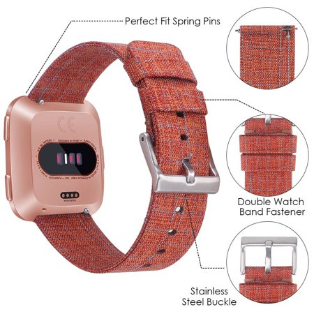 SDFB-002 Watch Band Fitbit Strap Canvas Plaid Wrist Strap Replacement Wristband for Fitbit Versa Fitness Smart Watch - image 4 de 7