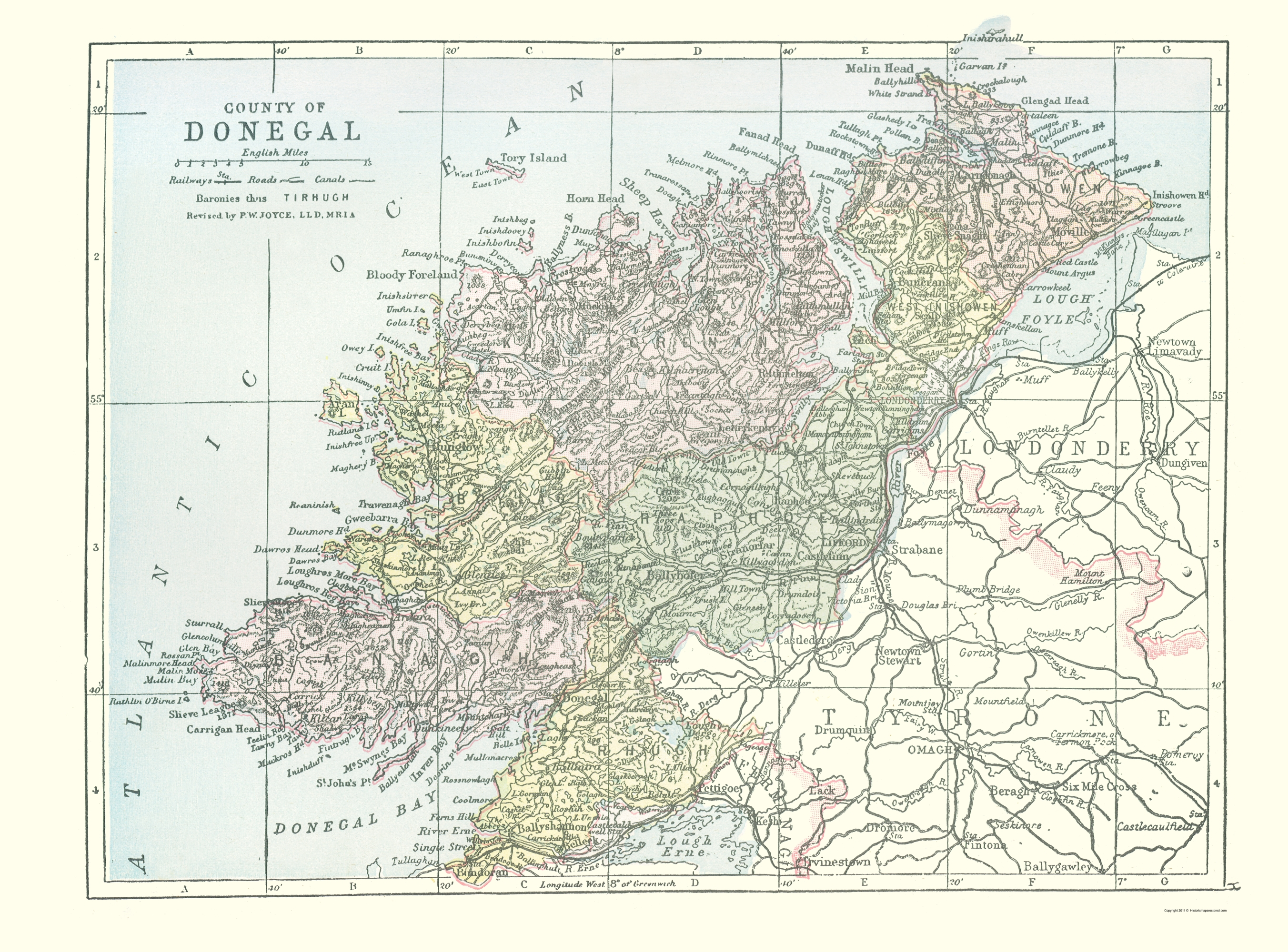 Donegal Map Of Ireland.Old Ireland Map Donegal County Philip 1882 23 X 31 10 Walmart