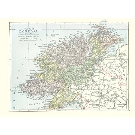 Donegal On Map Of Ireland.Old Ireland Map Donegal County Philip 1882 23 X 31 10 Walmart