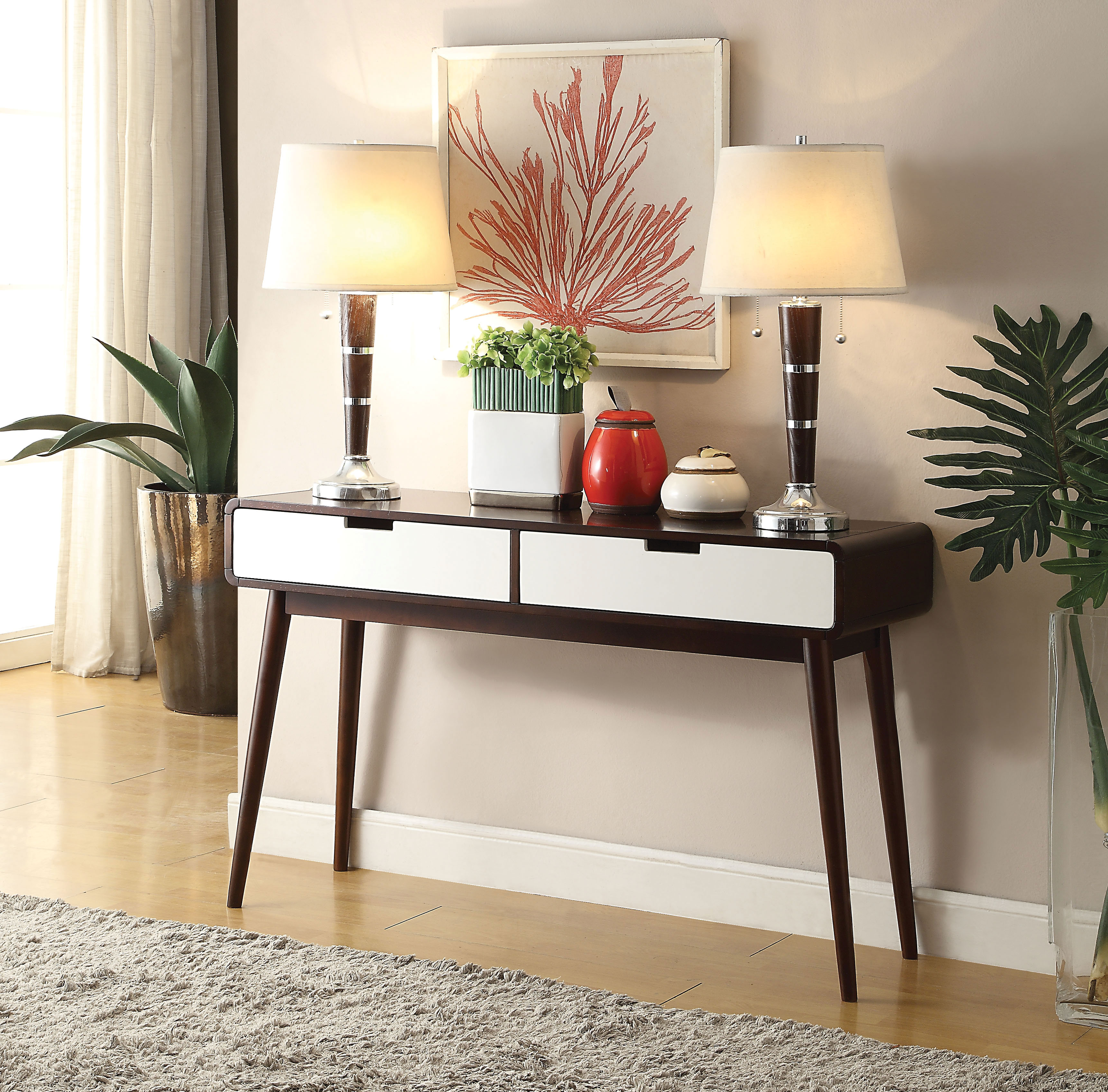 Beautiful Sofa Table With 2 Drawers, Espresso & White by Benzara