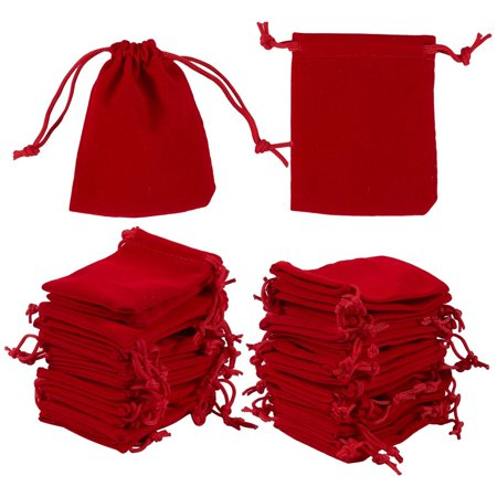 48-Piece Jewelry Pouch Drawstring Bags - Velvet Cloth Storage Pouch for Jewelry, Dice, Favor, Red, 2.7 x 3.5 Inches