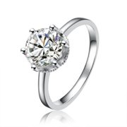 Collette Z  Sterling Silver Cubic Zirconia Round Cut Solitaire Ring