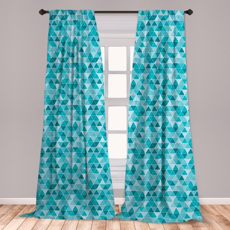 Blue Curtains 2 Panels Set, Geometric Pattern with Triangles in Oceanic Winter Colors Abstract Mosaic, Window Drapes for Living Room Bedroom, Blue Sky Blue Pale Blue, by Ambesonne ()