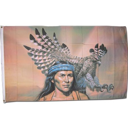 - American Indian with Eagle - 3'X5' Polyester Flag