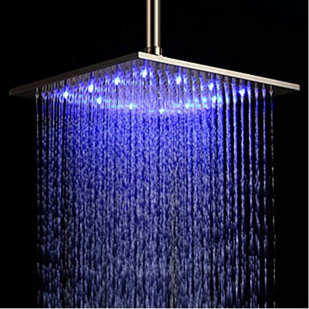 Rozin 12 Inch Led Color Bathroom Square Shower Head Rainfall Over Spray Brushed Nickel