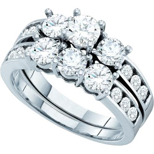 1.50Ctw Round Diamond Bridal Set Womens Fixed Ring Size - 7
