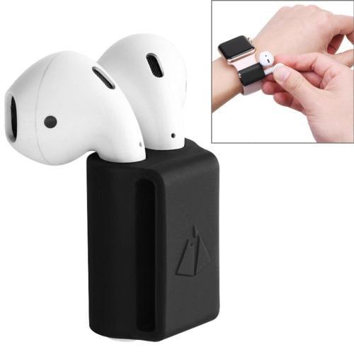 Apple AirPods Holder Portable Anti-Lost Strap Silicone Case - Black
