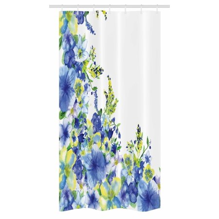 Watercolor Flower Stall Shower Curtain, Motley Floret Motifs with Splash Anemone Iris Revival of Nature Theme, Fabric Bathroom Set with Hooks, 36W X 72L Inches Long, Blue Yellow, by Ambesonne