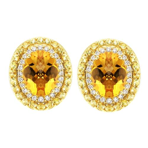 Beverly Hills Charm 14k Yellow Gold Citrine and Yellow Sapphire 1/5ct TDW Diamond Oval Halo Stud Earrings (H-I, SI2-I1)