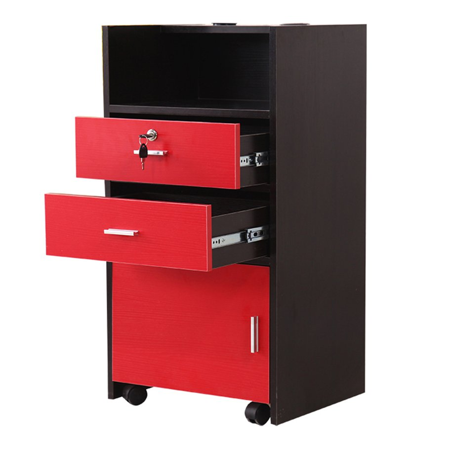 Rolling Drawer Organizer Storage Cart With Lock Hairdryer Holes Cabinet On  Wheels Mobile Hairdressing Trolley