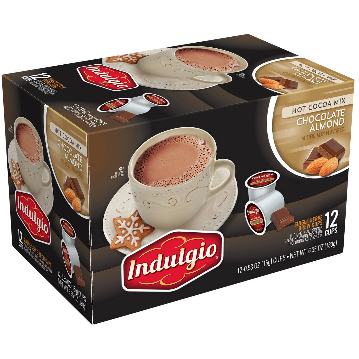 Indulgio Chocolate Almond Hot Cocoa Mix Single Serve Brew Cups, 0.53 oz, 12 count by Trilliant Food