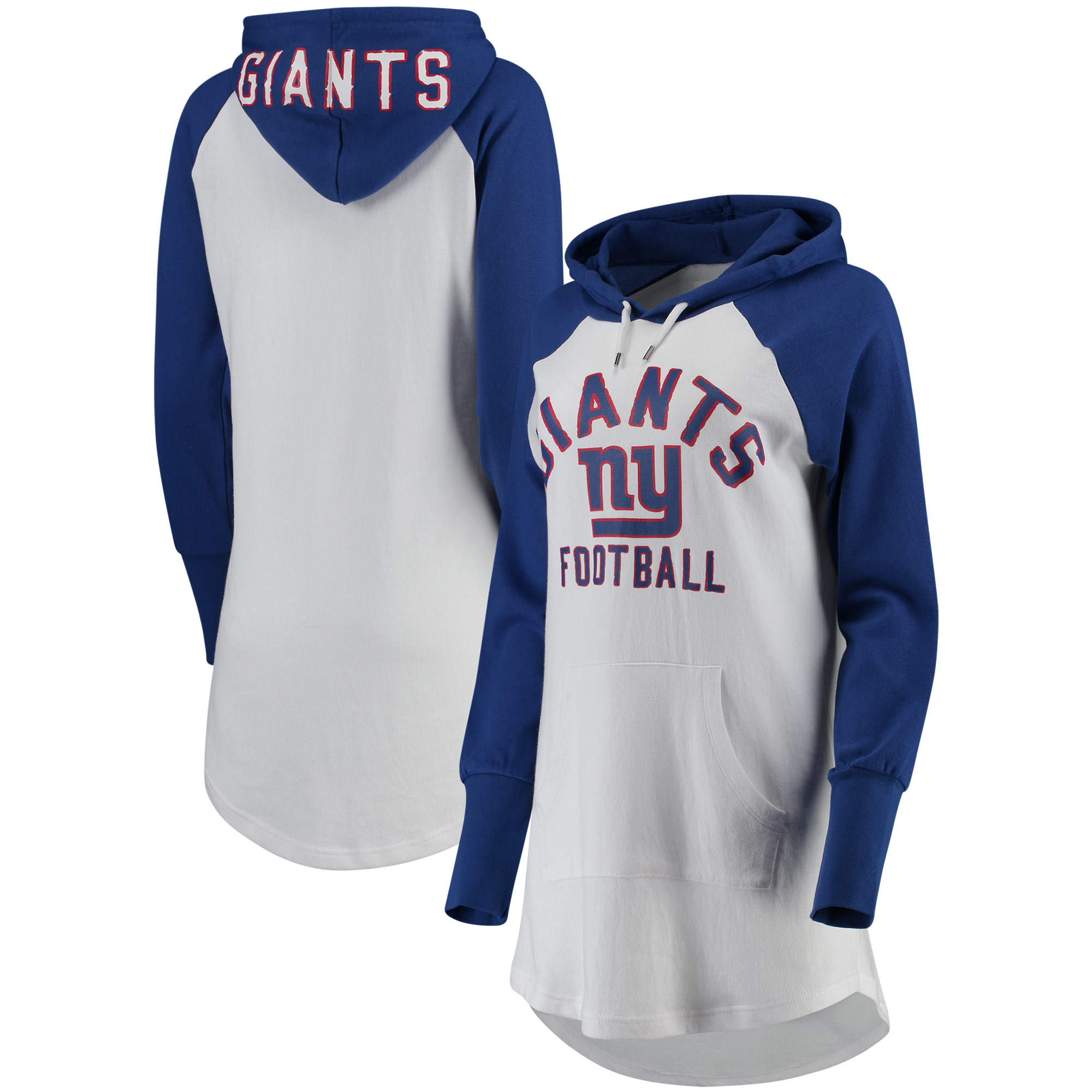 New York Giants G-III 4Her by Carl Banks Women's All Division Raglan Sleeve Pullover Hoodie - White/Royal