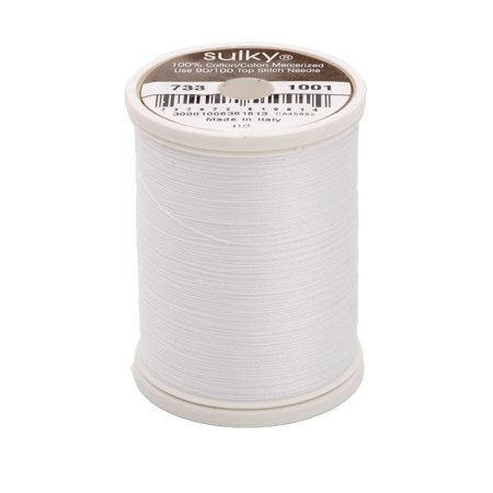 King Spool - 400d 30wt Cotton Thread, 500 yd, Bright White, King Snap Spool. 100% Long Staple Matte Finish By Sulky Of America