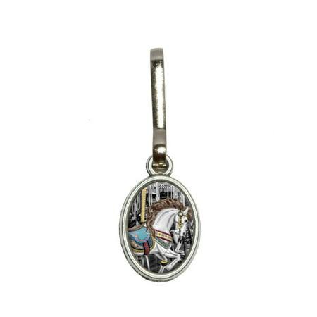 Carousel Merry-Go-Round Oval Zipper Pull ()