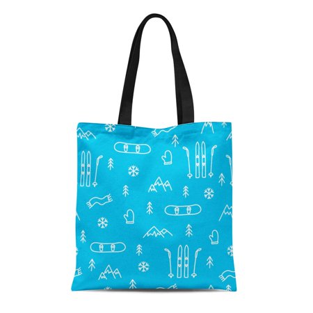 ASHLEIGH Canvas Tote Bag Ski Mountain Skiing Snowboarding Blue Pattern Snowboard Winter Abstract Reusable Shoulder Grocery Shopping Bags Handbag (Mountain Snowboard Bag)