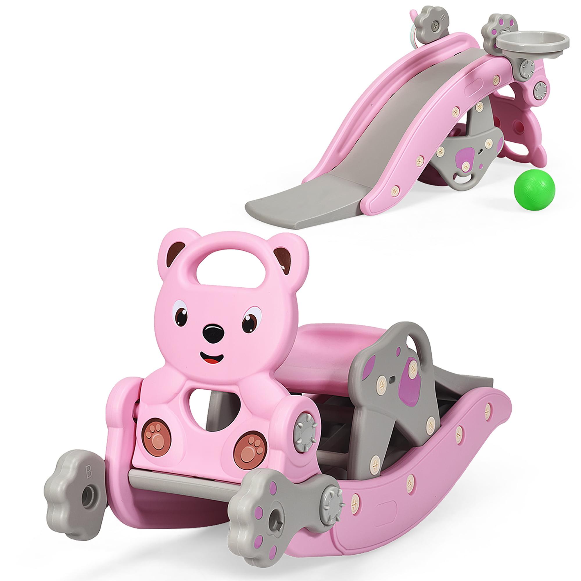 Costway Baby Rocking Horse Slide Set 4 In 1 Kids Swing Toys W Basketball Hoop Ferrule Walmart Canada