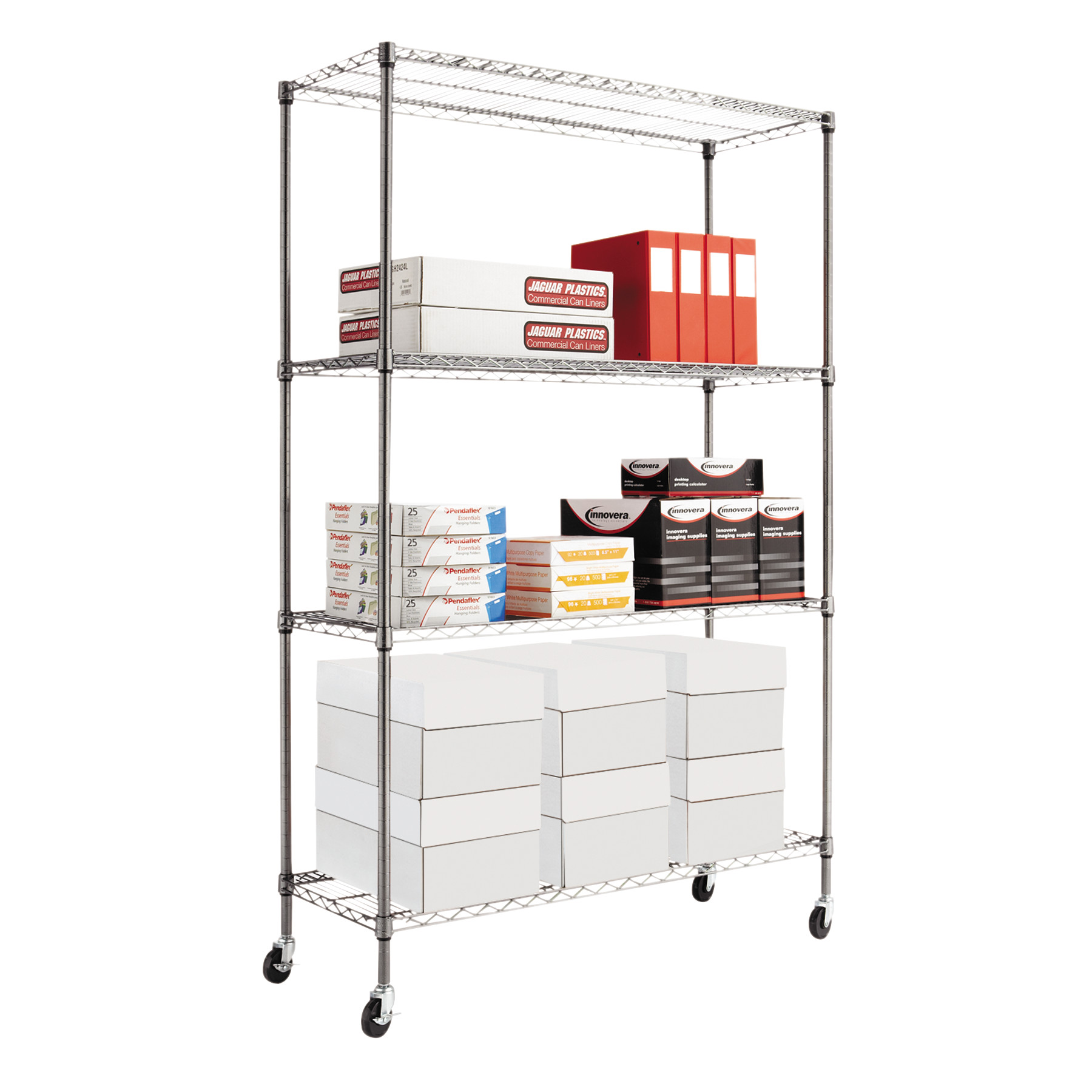 Alera Complete Wire Shelving Unit with Casters, Four-Shelf, 48\