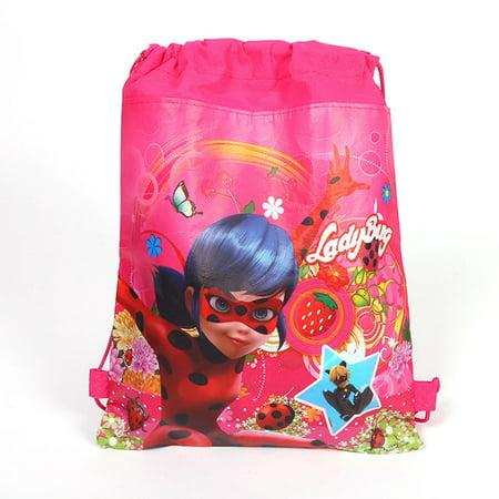Miraculous Ladybird Girl Non woven Bouquet Pocket Christmas Drawstring Candy Bags Gift Bag Kids Christmas Backpack Non Woven Drawstring Bag
