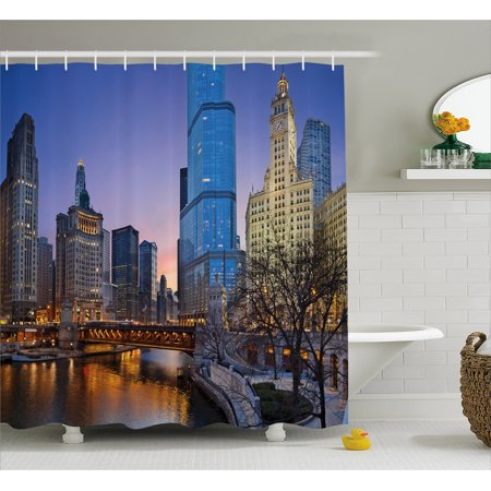Landscape Shower Curtain  Usa Chicago Cityscape With Rivers Bridge And Skyscrapers Cosmopolitan City Image  Fabric Bathroom Set With Hooks  69W X 70L Inches  Multicolor  By Ambesonne