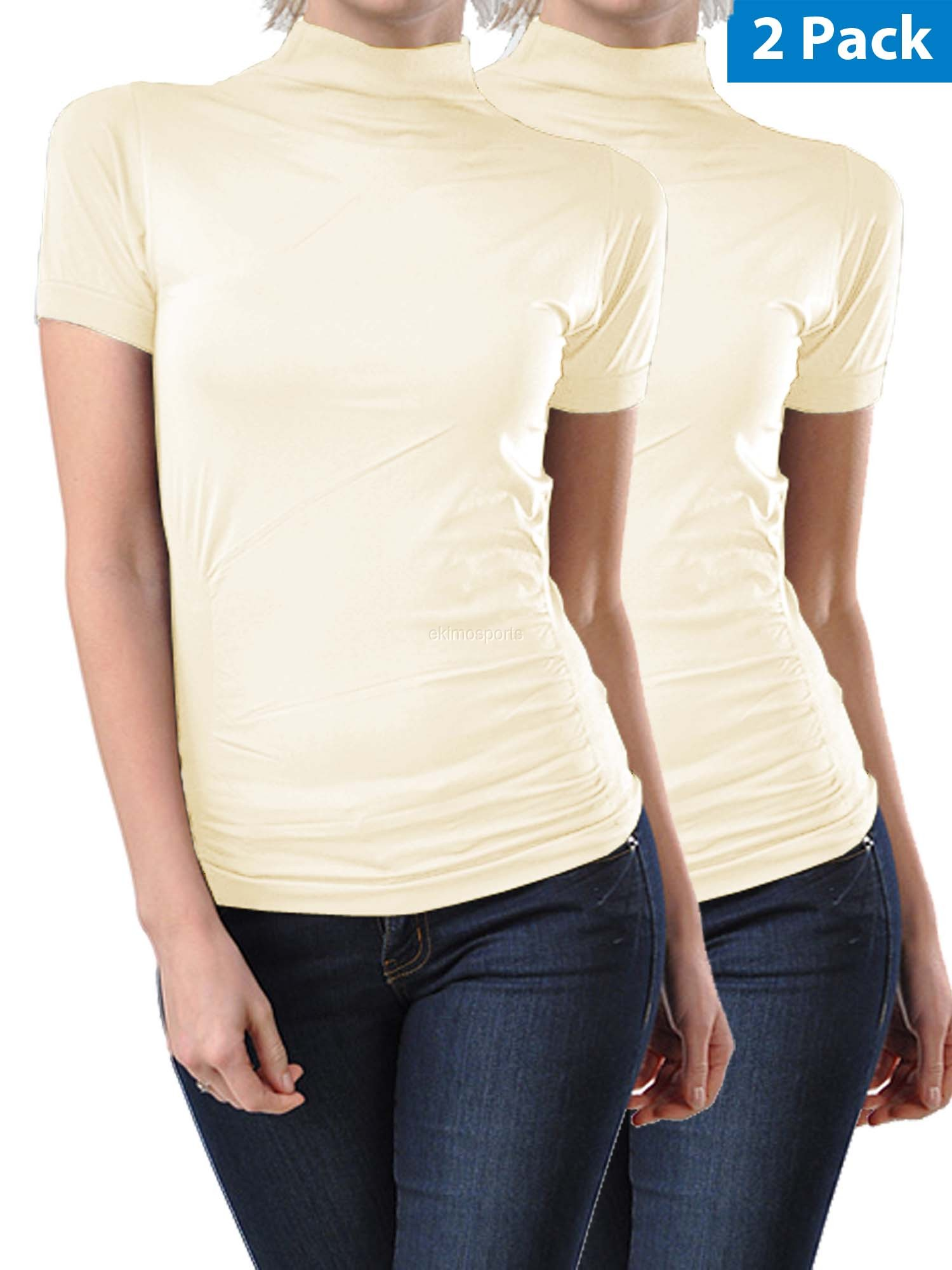 2 Pack Women Seamless Short Sleeve Mock Neck Turtleneck Blouse Top Tee Shirts by