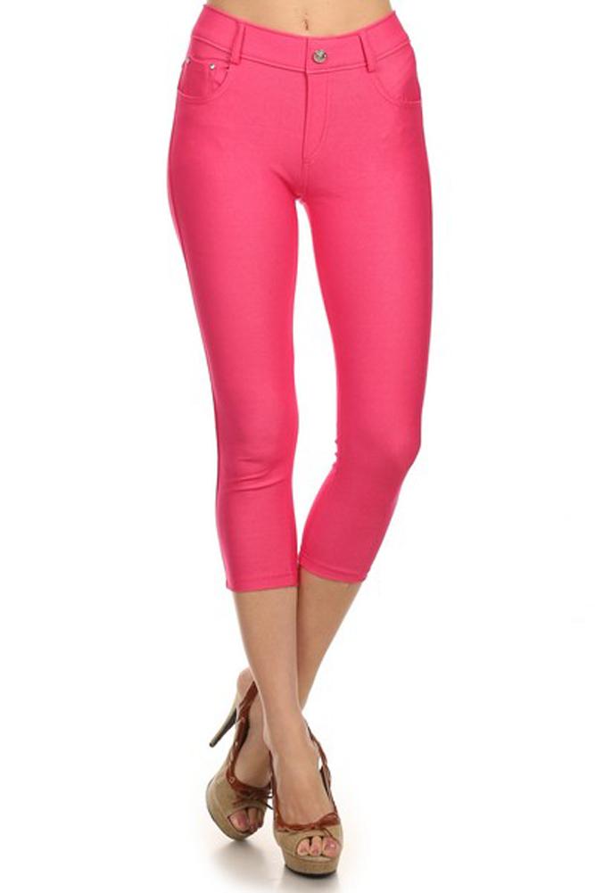 Belle Donne Women's Pants Capri Jeggings Cotton Blend Solid Colors-Black/M